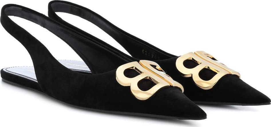 Balenciaga - BB velvet slingback slippers