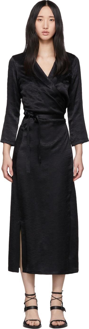 Ann Demeulemeester Black Long Wrap Dress
