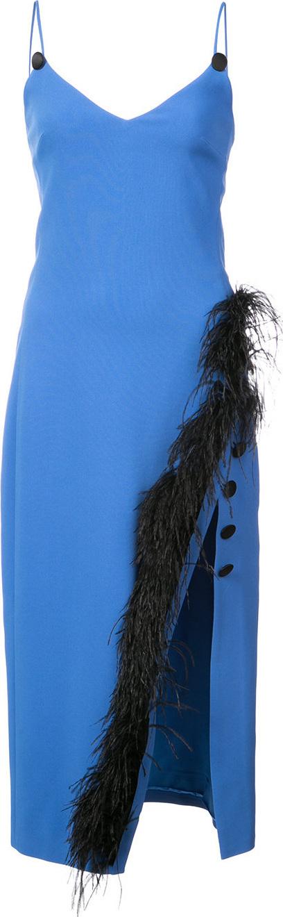 David Koma Feather trim midi dress