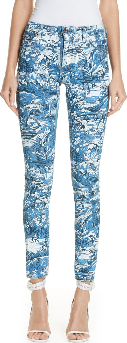 Off White Tapestry Print Skinny Jeans