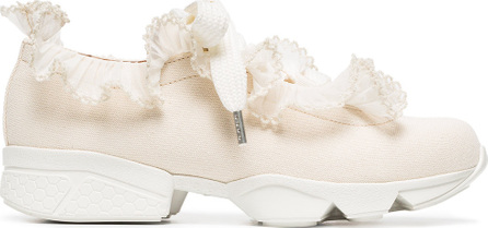 Ganni Nude Harriet ruffle cotton canvas sneakers