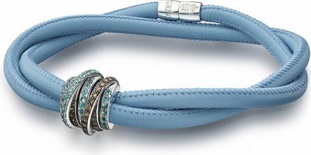 de GRISOGONO Allegra 18k White Gold & Leather Bracelet w/ Paraiba Tourmaline & Brown Diamonds