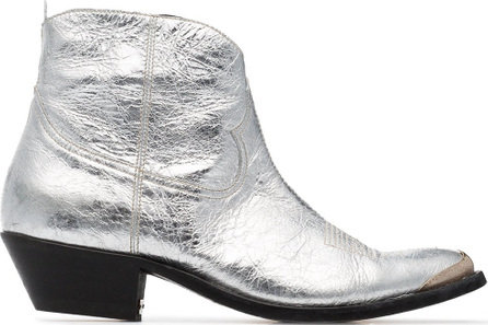 Golden Goose Deluxe Brand Gold and silver metallic young leather cowboy boots