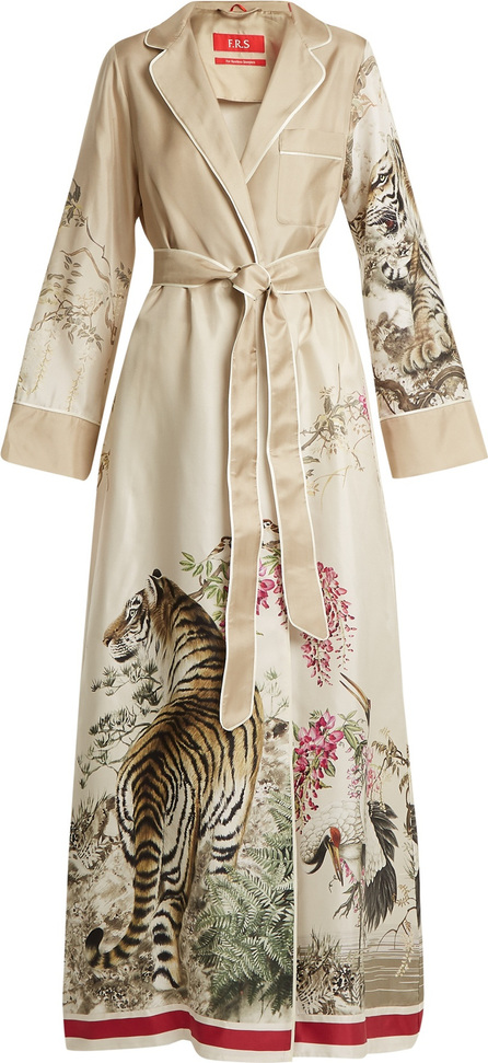 F.R.S For Restless Sleepers Roda tiger-print silk-twill robe