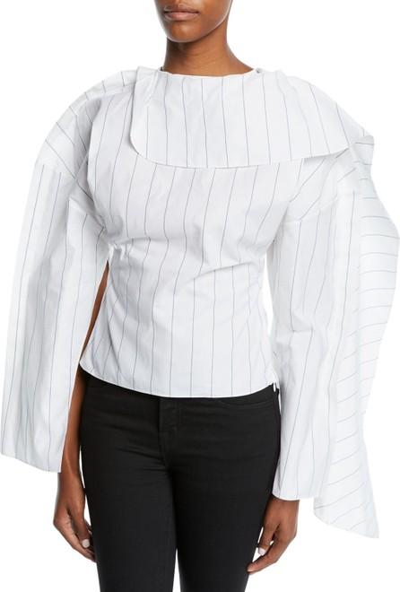A.W.A.K.E Backless Volume-Sleeve Striped Top