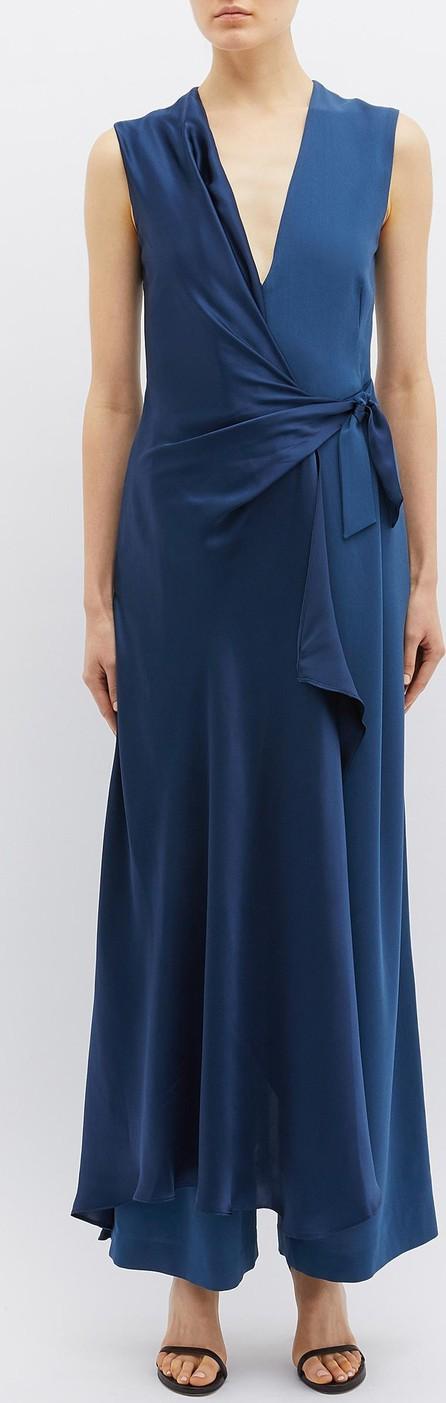 Bianca Spender 'Europa' twist drape crepe V-neck jumpsuit