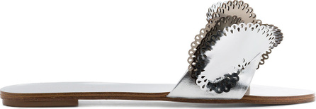 Sophia Webster Silver Soleil 10 Cutout Ruffle Leather Slides