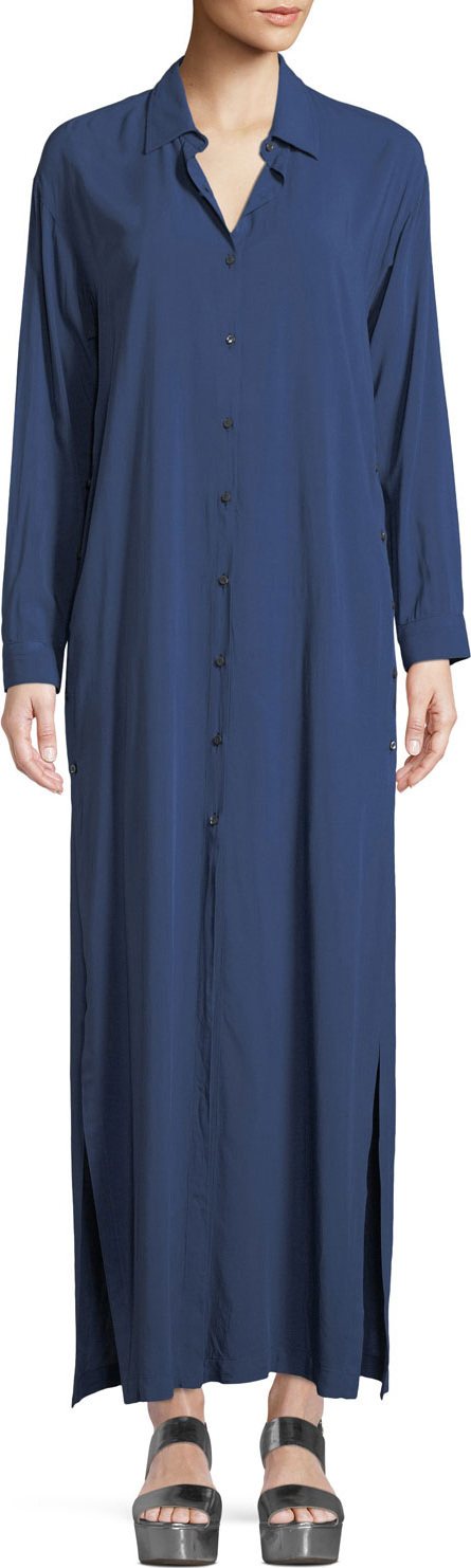 3X1 Faye Long-Sleeve Button-Front Maxi Dress