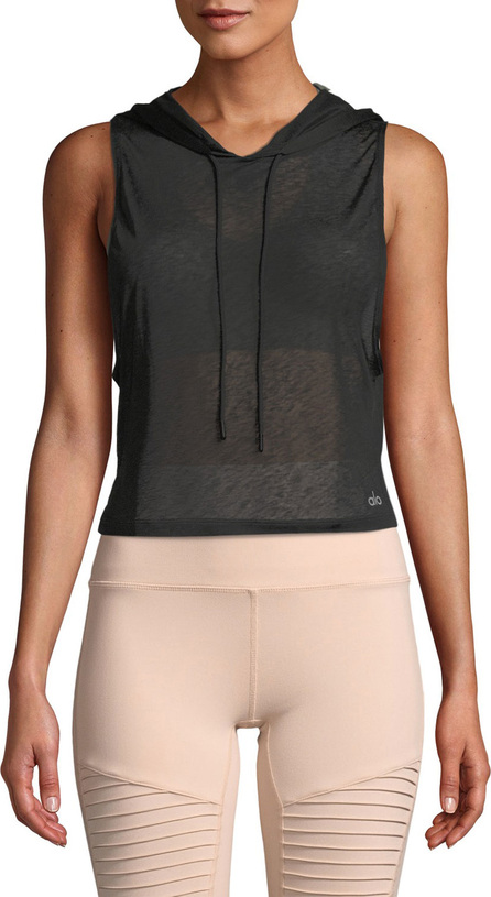 Alo Yoga Arrow Sheer Crop Tank Hoodie