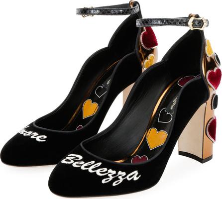 Dolce & Gabbana Amore Bellezza Velvet Ankle-Wrap Pump