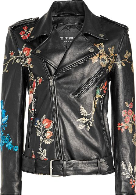 Etro Embroidered Leather Jacket