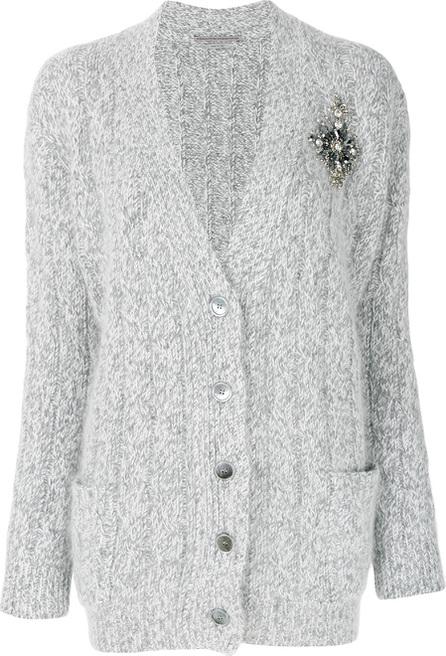 Ermanno Scervino Chunky knit brooch V-neck cardigan