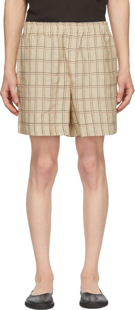 Bode Tan Schoolhouse Plaid Rugby Shorts