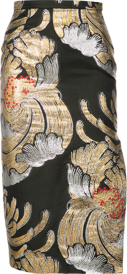 ROCHAS Metallic floral pencil skirt