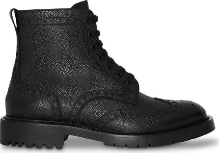 Burberry London England Brogue Detail Grainy Leather Boots