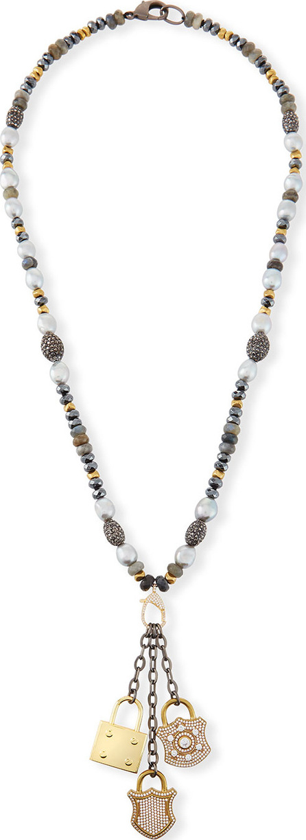 Hipchik Couture Christie Pearl & Hematite Lock Necklace