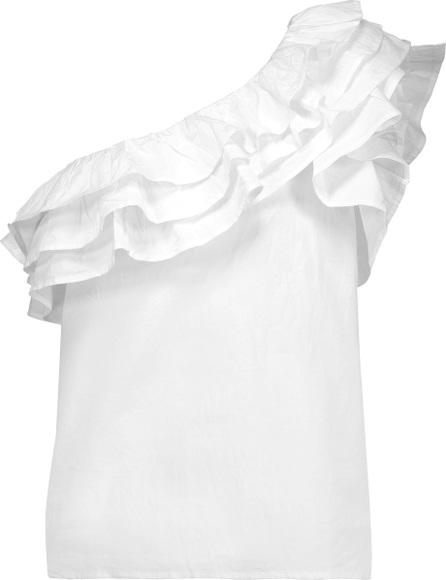 W118 by Walter Baker Martyn one-shoulder ruffled cotton top