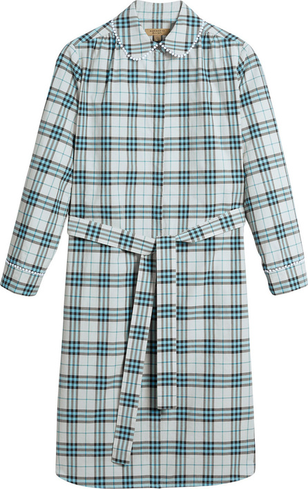 Burberry London England Lace trim collar check cotton shirt dress