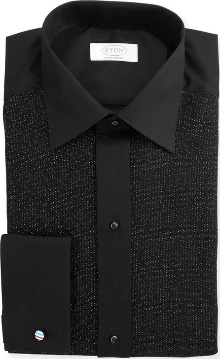 Eton Metallic Dotted Formal Shirt, Black