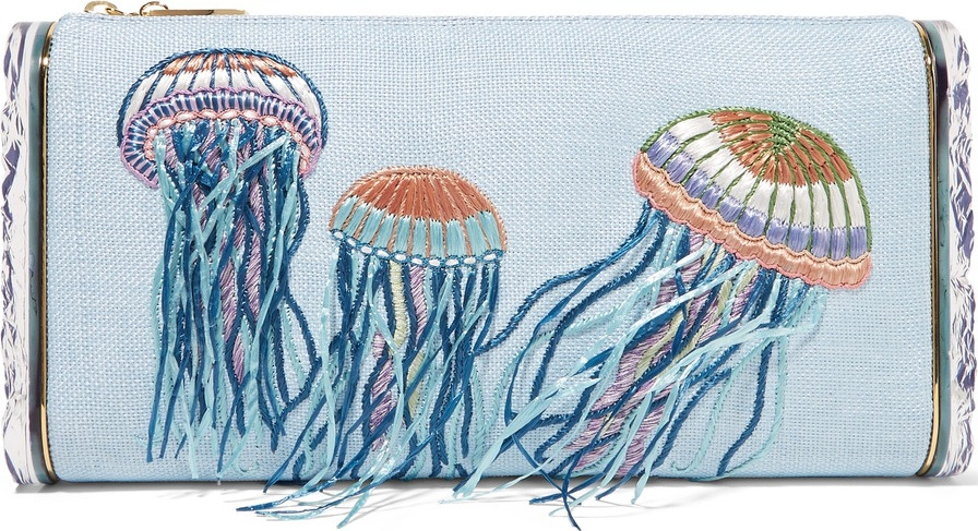 Edie Parker - Jumbo Lara Jelly Fish embroidered raffia and acrylic box clutch