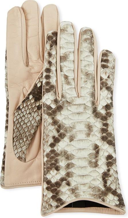 Guanti Giglio Fiorentino Lamb Leather & Python Snake Short Gloves