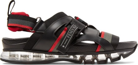 Fendi Leather-Trimmed Webbing Sandals