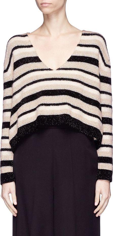 Lanvin Metallic stripe oversized cropped sweater