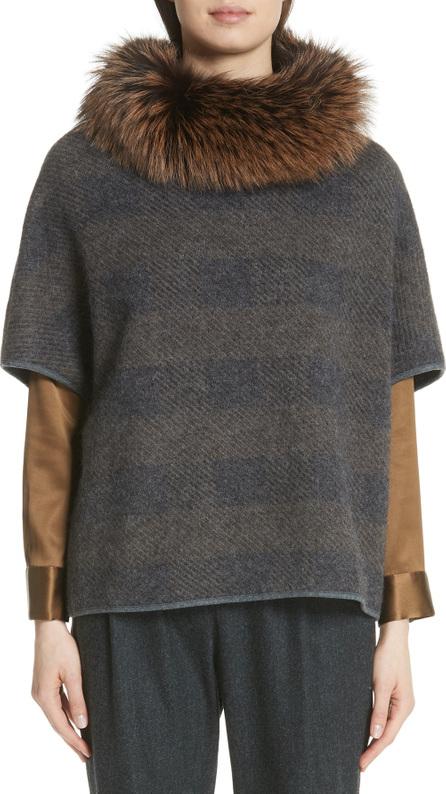 Fabiana Filippi Knit Poncho with Removable Genuine Fox Fur Collar