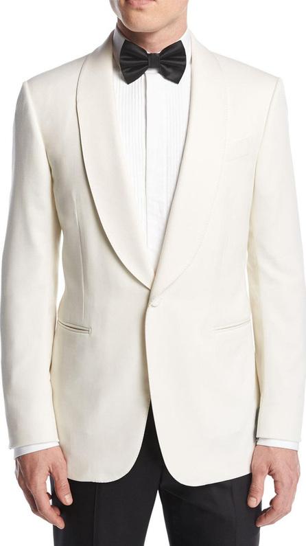 Ermenegildo Zegna Satin-Collar Dinner Jacket, White