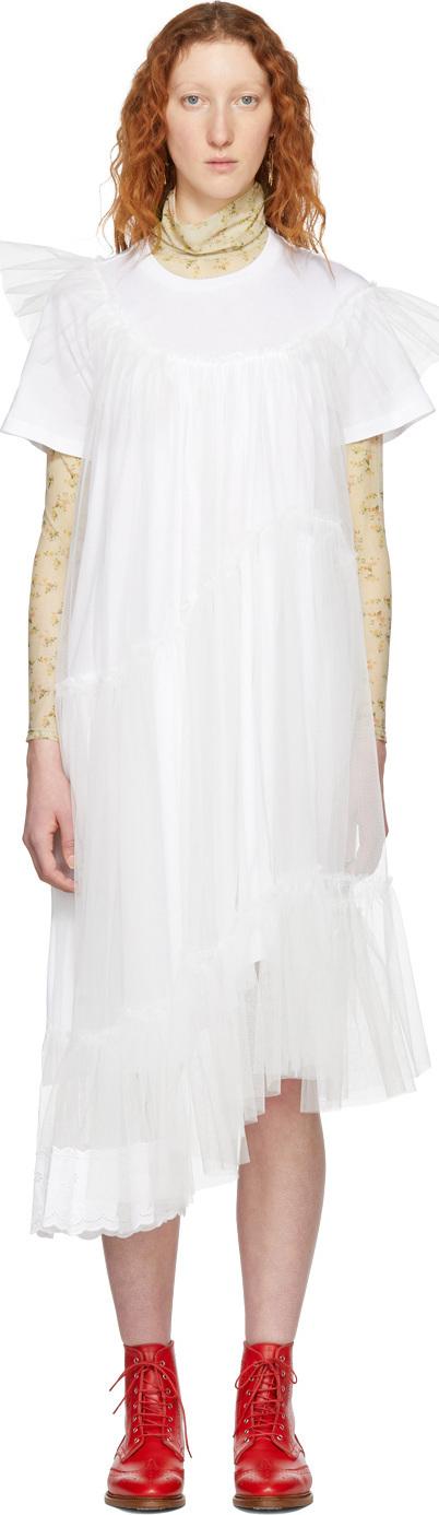 Simone Rocha White Tulle T-Shirt Dress