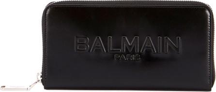 Balmain Shiny Continental Zip Wallet, Black