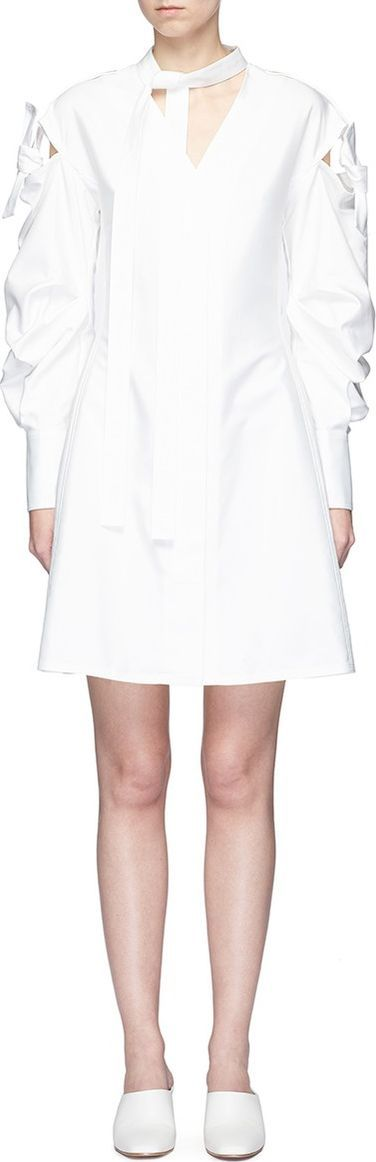 ADEAM Tie cutout ruched sleeve shirt dress