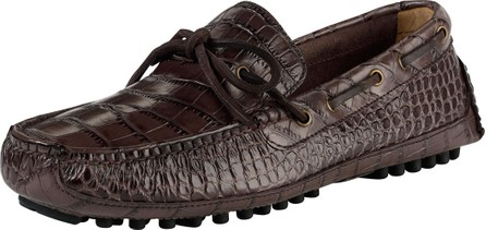Cole Haan Grant Canoe Reptile-Texture Moccasin, Chestnut