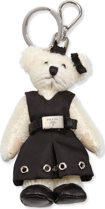 Prada Marlene Teddy Bear Charm for Handbag, White/Black (Bianco/Nero)