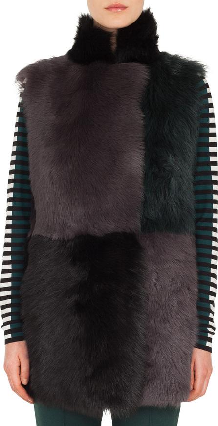 Akris Punto Long Colorblocked Toscana Lamb Fur Vest