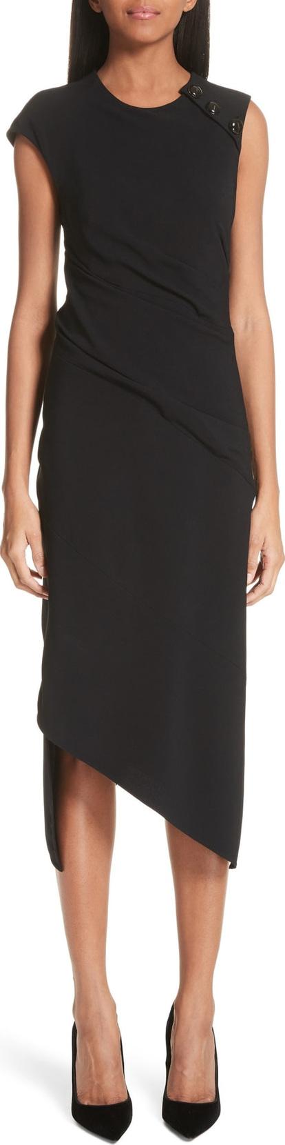 Proenza Schouler Spiral Detail Asymmetrical Crepe Dress