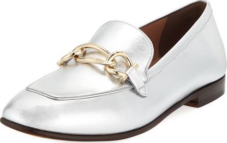 Salvatore Ferragamo Metallic Leather Chain Bit Slip-On Loafers