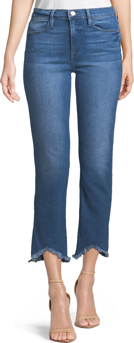 FRAME DENIM Le High Straight-Leg Jeans w/ Raw-Edge Triangle Hem