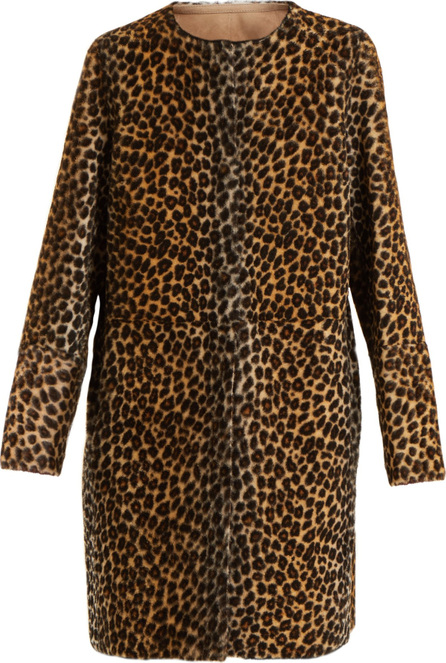 Yves Salomon Reversible collarless animal-print shearling coat
