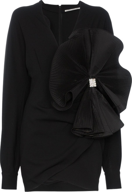 Alessandra Rich Bow embellished crepe de chine mini dress