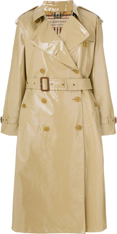 Burberry London England Patent trench coat