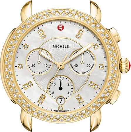 MICHELE Sidney 18K Gold-Plate Watch Head with Diamonds