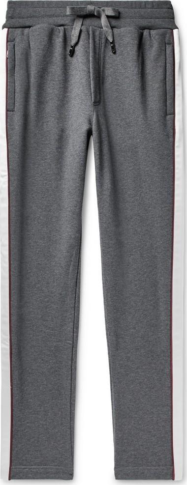 Dolce & Gabbana Slim-Fit Satin-Trimmed Logo-Appliquéd Loopback Cotton-Jersey Sweatpants