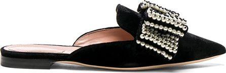 Alberta Ferretti Embellished Velvet Mules