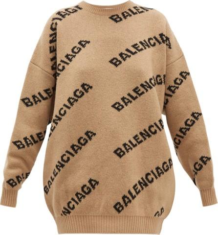 Balenciaga Logo wool-blend jacquard sweater