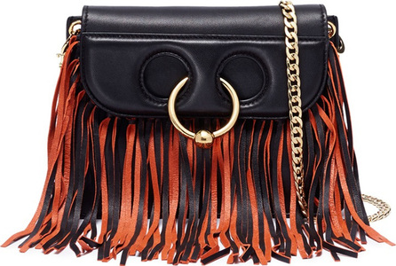 J.W.Anderson 'Pierce' barbell ring fringe mini leather crossbody bag