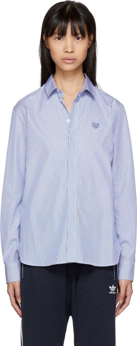 KENZO Blue & White Striped Tiger Crest Shirt