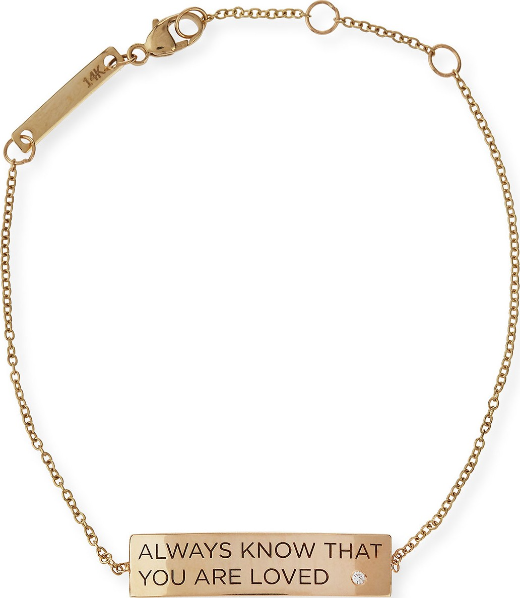 450fc0635b41a Zoe Chicco Always Know That You Are Loved 14K Gold ID Bracelet with Diamond
