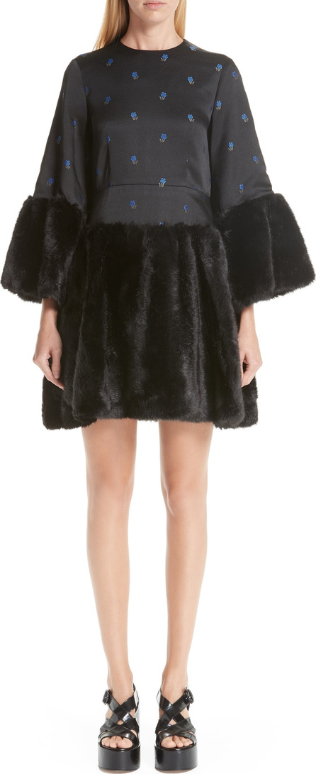 Noir Kei Ninomiya Floral Dress with Faux Fur Trim