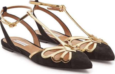 Tabitha Simmons Suede and Leather Mary-Jane Ballerinas